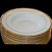 Set of 8 Antique Tiffany & Co New York Minton Porcelain Wide Gold Rim Soup Bowls
