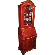 Baker Knapp & Tubbs Widdicomb Red & Gold Chinoiserie Secretary Desk Bookcase