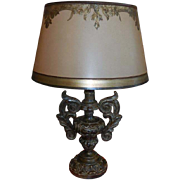 Fine Designer Giltwood Italian Urn Table Lamp w Custom Shade