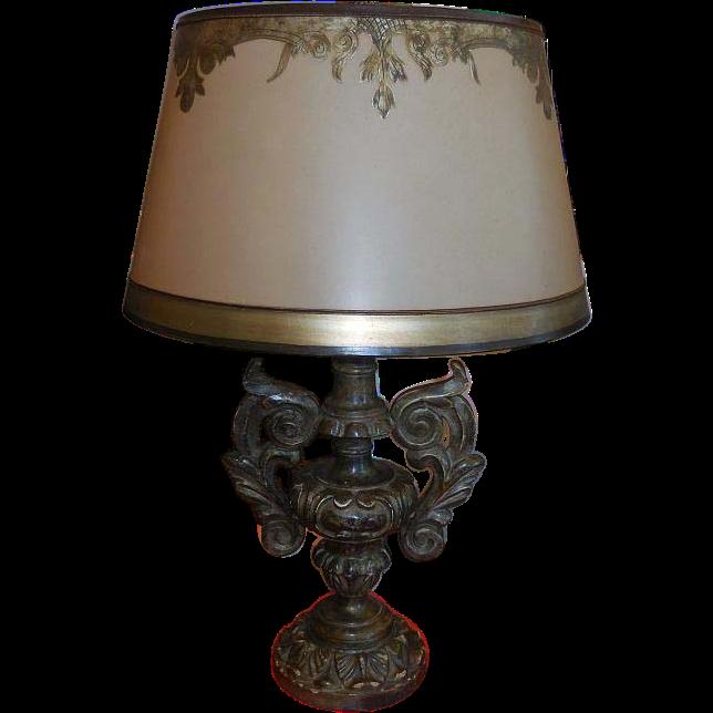 Fine Designer Giltwood Italian Urn Table Lamp w Custom