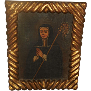 Antique 18C Religious Icon Framed Oil Painting