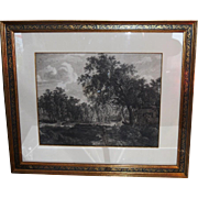 Antique Engraving Print in Italian Designer Frame