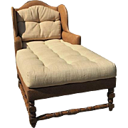 Spectacular Designer Wingback Chaise Lounge w Linen Cushions