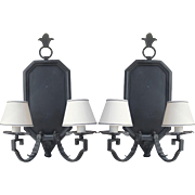 Spectacular Pair of Paul Ferrante Iron Wall Sconce Light Fixtures