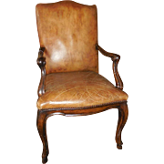Superb Michael Taylor Designer Arm Chair w Brown Leather