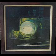 Vintage Alison Daubercies Modernist Abstract Oil Painting