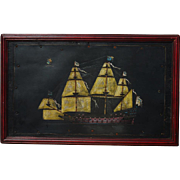 Unusual Original Oil Painting of 17th Century Ship SMS Friedrich Wilhelm