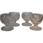 Set of 4 Unusual Heavy Irish Crystal Goblets