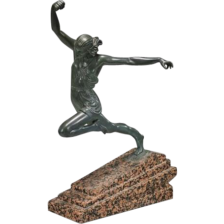 large art deco style bronze amazon woman athlete sculpture from