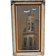Tall Original Architectural Painting by Listed California Artist Carl Broderick