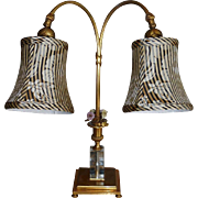 Antique Gilt Bronze  French Crystal & Enamel Flower Lamp