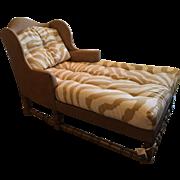 Spectacular Designer Wingback Chaise Lounge w Scalamandre Zebra Cushions
