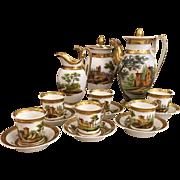 Unusual Antique Old Paris Porcelain coffee Pot & Cup Set
