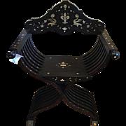 Spectacular Antique Italian Inlaid Trestle Chair