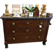 Superb Antique Italian Commode w Black Marble Top & Marble Pulls