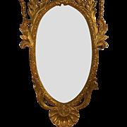 Huge Hand Carved Italian Regency Style Gilt-wood Mirror