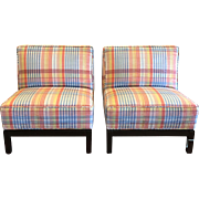 Exquisite Pair of PROSPR Art Deco Designer Slipper Chairs