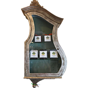 Antique Keyhole Hanging Wall Vitrine Display Cabinet