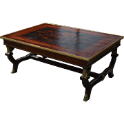Spectacular Italian Empire Designer Cocktail Coffee Table w Marquetry Top
