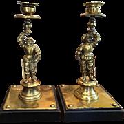 Superb Pair of Antique Italian Bronze Figural Candlesticks