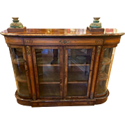 Antique Italian Burl Inlaid Vitrine Bookcase