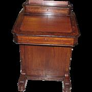 Unusual Antique Burl Walnut English Davenport