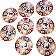 Set of 8 Classic 19th C Antique Japanese Imari Porcelain Dishes Plates