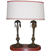 Unusual Designer Lamp w Antique Bronze India Candlesticks & Custom Shade