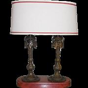 Unusual Designer Lamp w Antique Bronze India Candlesticks & Custom Shade