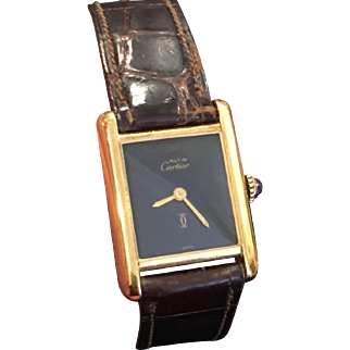 Exquisite Vintage 925 Gold Plated Ladies Cartier Tank Watch Black Face