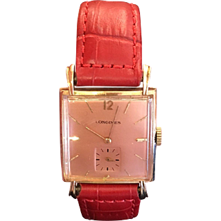 Exquisite Vintage 14k Solid Rose Gold Ladies Longines Watch w Red Band