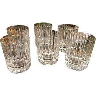 Set of 6 Signed Baccarat Crystal Scotch Tumblers Harmonie