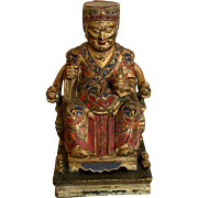 Antique Chinese Carved Gilt Wood Figure of a Male Seated Buddha