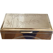 Unusual Vintage Art Deco Sterling Silver Box w Bamboo Decoration