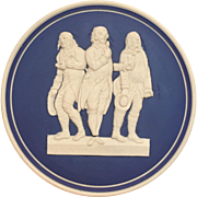 Rare Antique Blue & White Bisque Pottery Plaque w 18c Political Satire mate