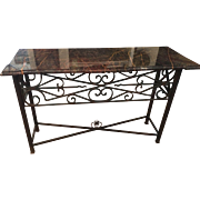 Early 20th Century Wrought Iron Marble Top Console Sofa Table