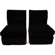 Exquisite Pair of Marge Carson Black Velvet Designer Slipper Chairs
