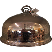 Antique Silver Food Dome w Armorial Crest Faveat Fortuna