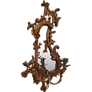 Superb Antique 18th C Gilt-wood Mirror Wall Sconce