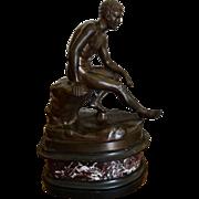 Superb Antique Bronze Sculpture of Male Nude Mercury Founfria Nelli Roma