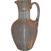 Rare Antique Lutz Mt Washington Glass Threaded Jug