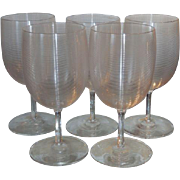Rare Set of 5 Antique Lutz Mt Washington Glass White Wine Stems