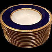 Set of 12 Antique Royal Doulton Blue & Gold Encrusted Porcelain Wide Rim Bowls