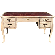 Fine Italian Designer Paint Decorated Writing Table Desk w Red Leather Top