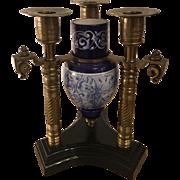 Antique Bronze Candelabra w Majolica Pottery Vase