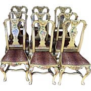 Set of 4 Antique Italian Paint Decorated Dining Chairs