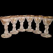 Set of 6 Antique Baccarat Crystal Cordial Stems MS Monogram