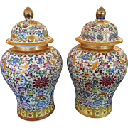 Huge Pair of Doucai Chinese Pottery Ginger Jars