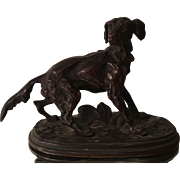 Rare Antique Bronze Sculpture of A Pointer Dog by PJ Mene