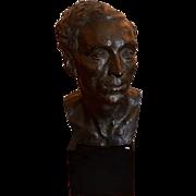 Huge Antique Early 20th C Bronze Bust Sculpture